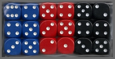 Smaller Spot Dice: Eighteen 12mm 6-sided Dice - Blue, Red, Black
